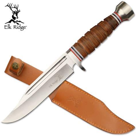 leather knife handle elk ridge fixed blade knife leather handle