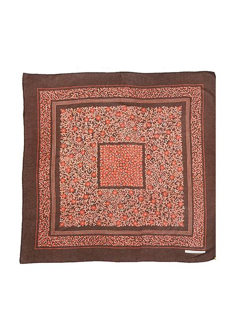 Square Basic Sally Scarf Dusty ditsy print floral square scarf in brown dusty pink and russet 72 x 75 cm vintage