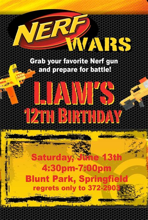 Nerf War Birthday Party Invitation Idea Birthday Party Pinterest Nerf War Invitation Nerf Invitation Template Free
