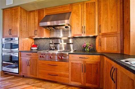 Frameless Kitchen Cabinets by Frameless Kitchen Cabinetry In Cherry Rustic Kitchen