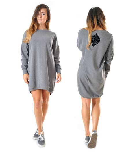 Robe Sweat Adidas Fille - robe sweat oversize grise manches longues robe par