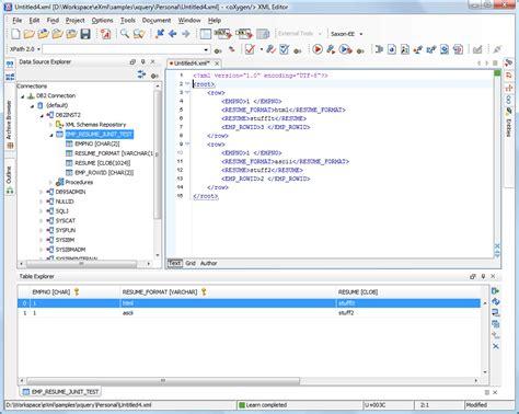 xml tutorial database ibm db2 xml support oxygen xml editor