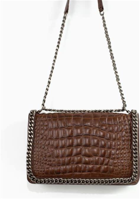 Zara Chain Brown zara croc city bag with chain in brown brown lyst