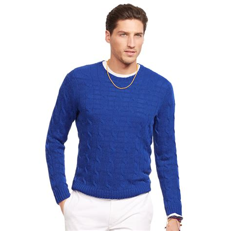 polo knit sweater polo ralph cable knit sweater in blue for