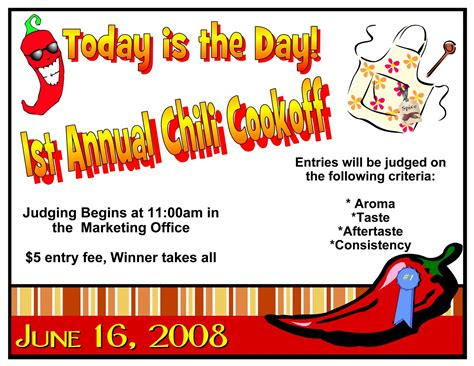 10 best images of chili cook off flyer templates