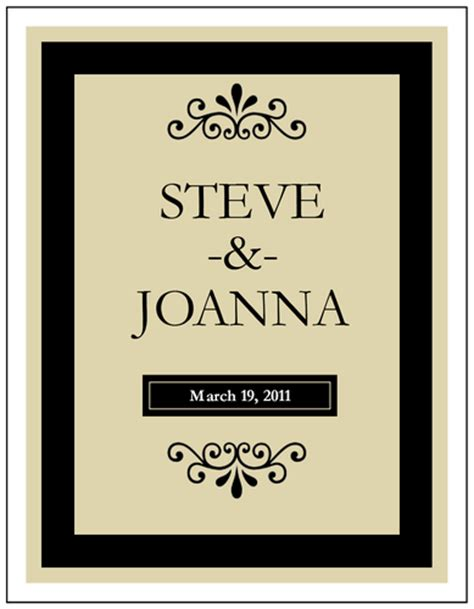 Wine Bottle Label Template black wine bottle wedding label label templates