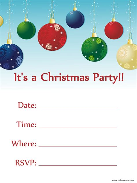printable xmas invitations printable christmas party invitations cimvitation