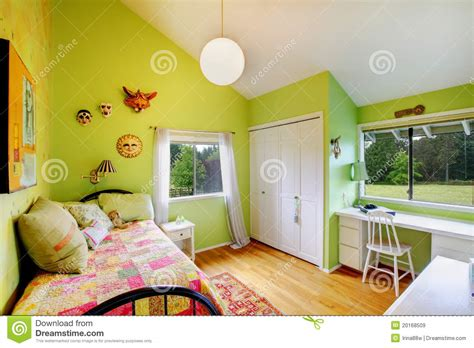 kids green bedroom green kids girls bedroom with white furniture stock
