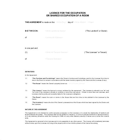 tenancy licence agreement template license agreement template 10 free word pdf document