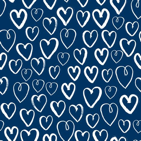 pattern blue heart hearts navy blue hearts fabric love hearts pattern