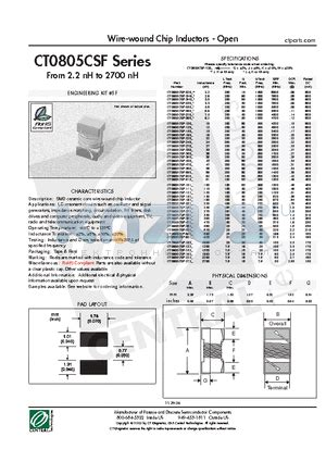 chip inductor datasheet ct0805csf 020k datasheet wire wound chip inductors open ct0805csf 020k pdf by central