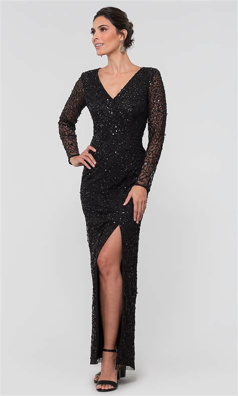 black sequin long sleeve adrianna papell mob dress
