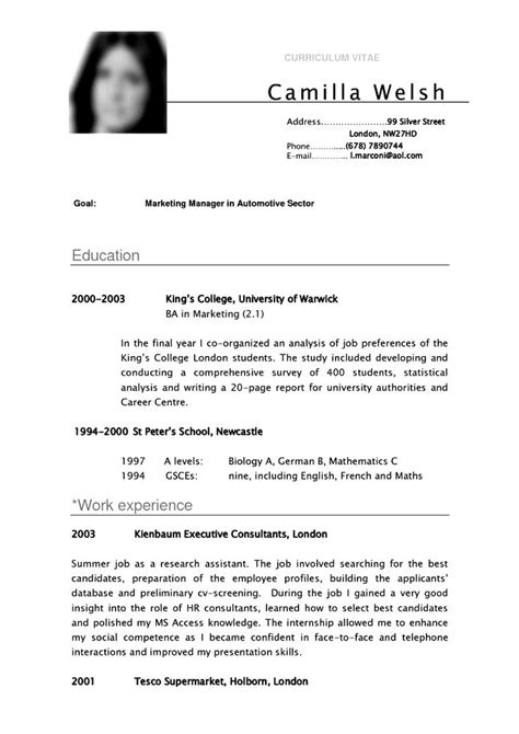 Resume Template Undergraduate by Cv Template Student Resume Curriculum Vitae