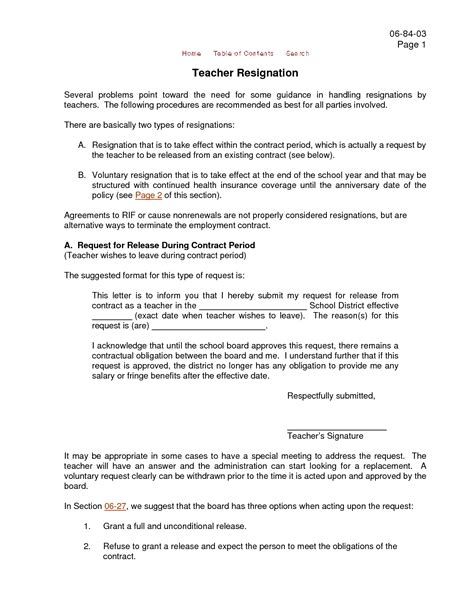 Resignation Letter Of Teaching Resignation Letter Format Aide Reason Sle Resignation Letter From Teaching Position