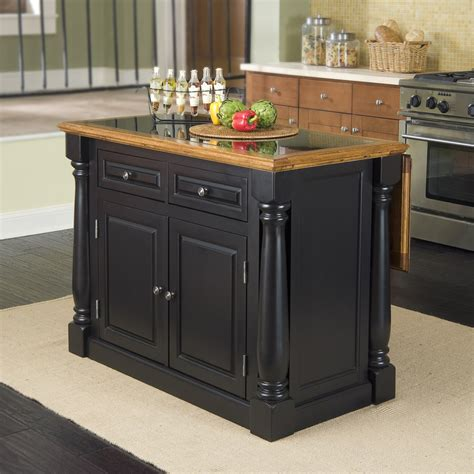 black granite top kitchen island shop home styles 48 in l x 25 in w x 36 in h black kitchen island with black granite top at