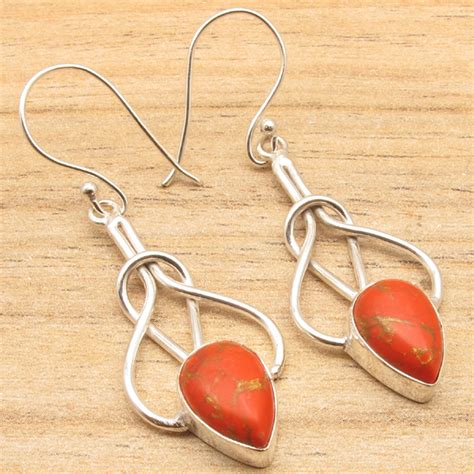 Handmade Jewelry California - 925 silver plated gemstones knot earrings