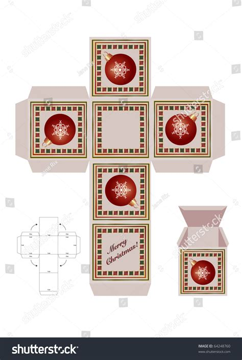 christmas gift box cutout template assembly stock