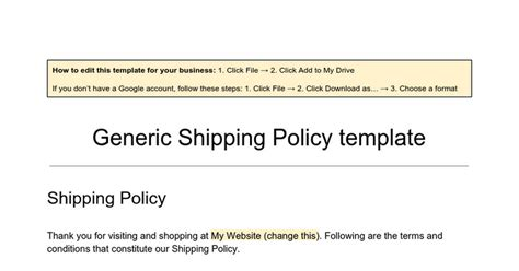 Generic Shipping Policy Template Google Docs Shipping Policy Template