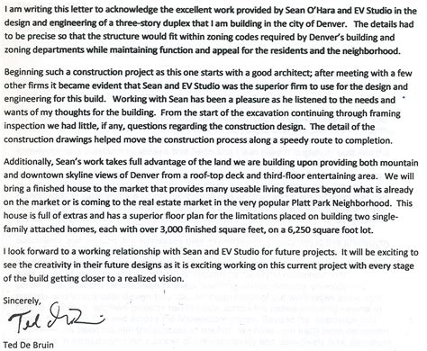 Letter Of Recommendation Architecture letter of recommendation for evstudio architecture from