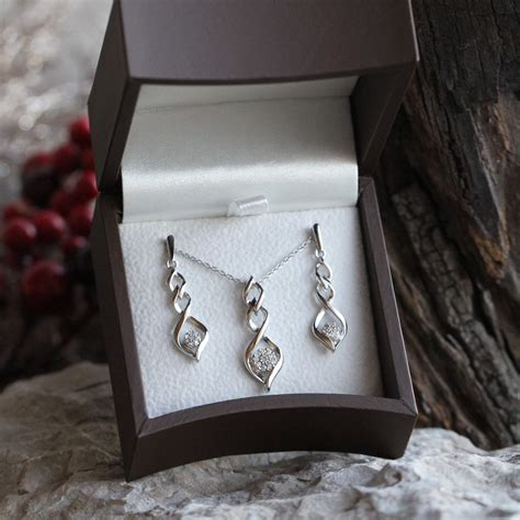 Twist Silver Necklace twist earrings and necklace gift set sterling