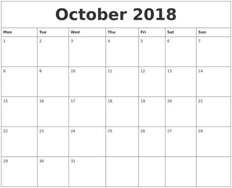 printable calendar oct 2018 cute october 2018 calendar printable journalingsage com