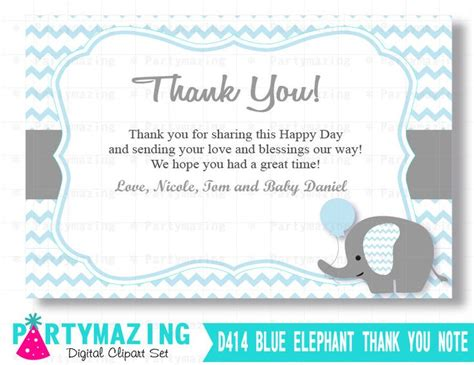thank you note template baby shower elephant thank you cards printable baby blue boy elephant