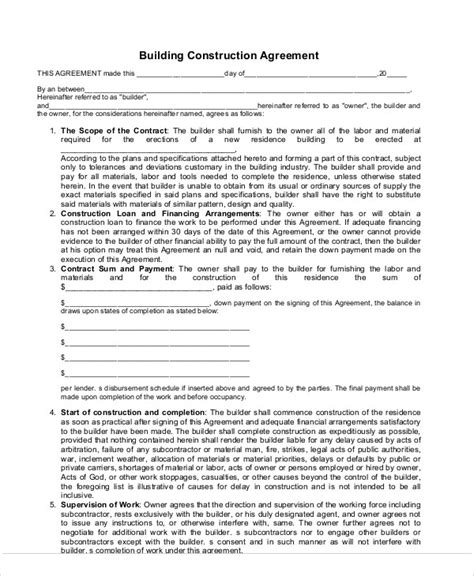 Agreement Letter For Building Construction 9 Construction Agreement Templates Free Sles Exles Format Free Premium