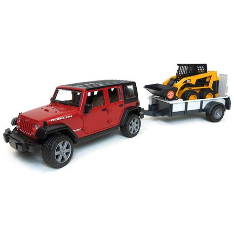 Jeep Trailer Cer 1 16th Jeep Wrangler With Trailer And Cat Skidloader By Bruder