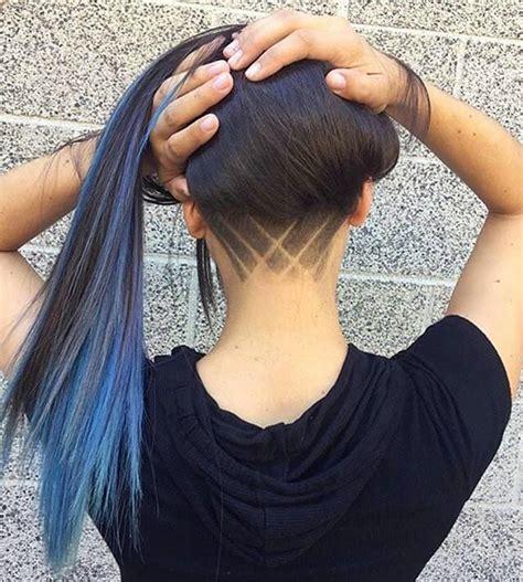 back of your head medium hair cuts выбритый затылок у девушек с узором на каре и длинные волосы