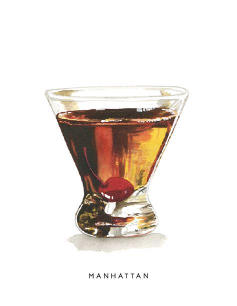 manhattan drink illustration cheryl oz designs manhattan midcentury cocktail series