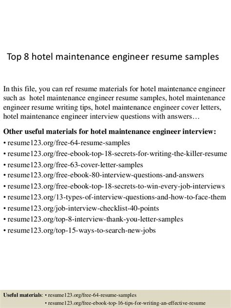 Hotel Maintenance Engineer Sle Resume by Top 8 Hotel Maintenance Engineer Resume Sles
