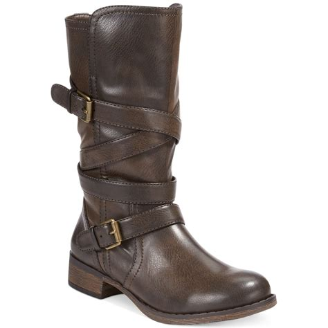 buckle boots report jesslyn buckle boots in brown lyst