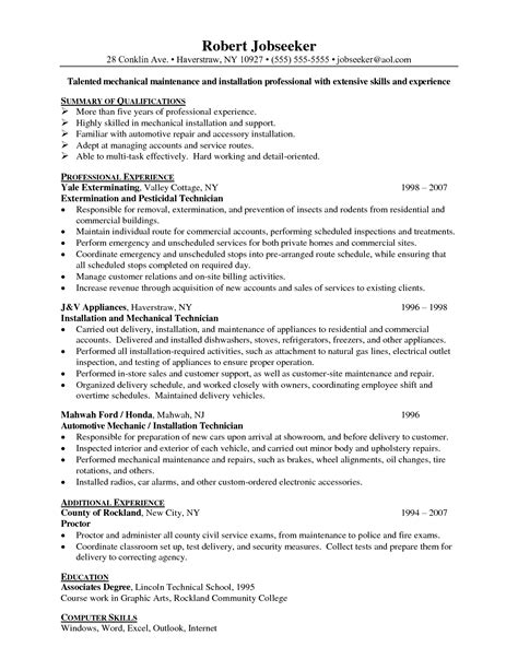 Maintenance Resume Template Maintenance Supervisor Resume Template Sle Resume
