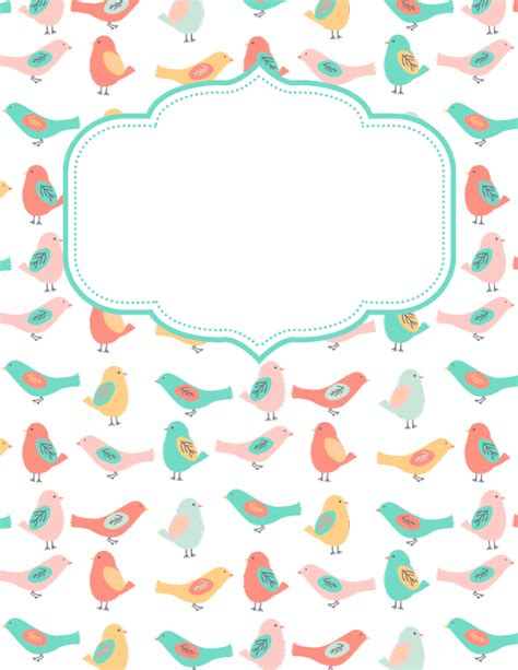 free printable bird binder cover template download the