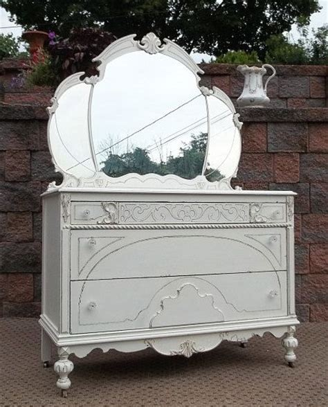 Shabby Chic Dresser With Mirror by Shabby White Chic Dresser W Tiara Mirror Table Chest Of