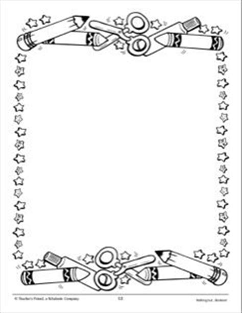 pattern writing frame school tools and stars design paper page borders