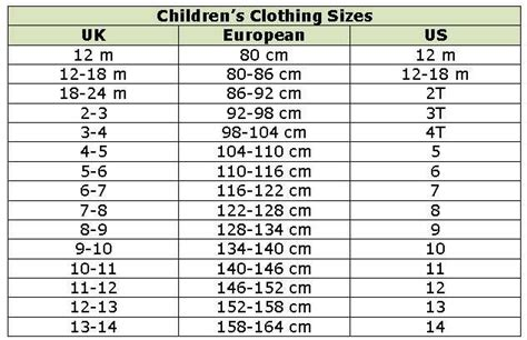 9 year shoe size children s clothing conversion chart work ideas