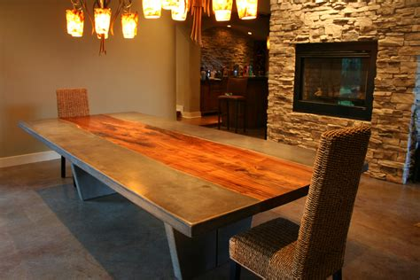 concrete and wood dining table walnut concrete dining table strack studio furniture llc