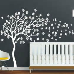 Nursery Tree Wall Stickers Huge White Tree Flowers 3d Vinyl Wall Decal Nursery Tree