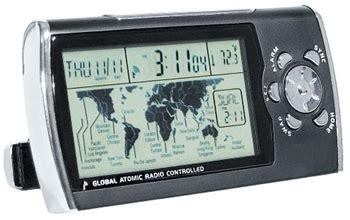 global atomic radio controlled desk clock world time travel alarm clock home away time