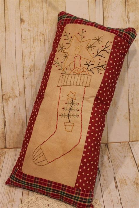 free pattern for primitive christmas stocking primitive christmas stocking pillow home decor folk art