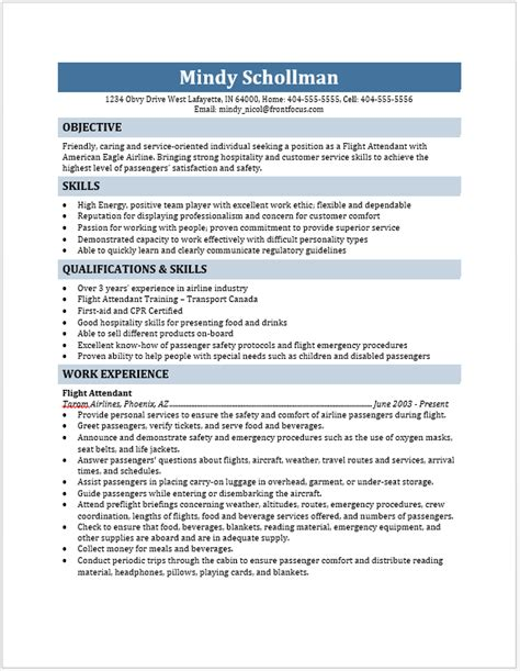 Resume For Flight Attendant Job by Flight Attendant Resume Blue Layouts