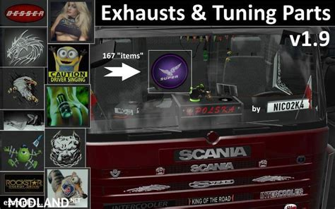 exhausts tuning parts  trucks   mod  ets
