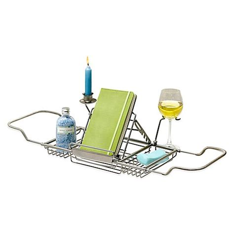 over the bathtub caddy over tub caddy in satin nickel bed bath beyond