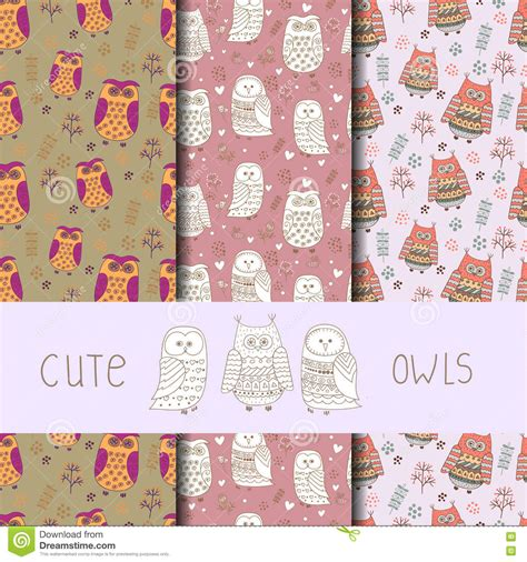 cute pattern set cute owls seamless pattern set of vector backgrounds