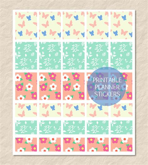 printable planner boxes printable spring pattern planner box stickers full by