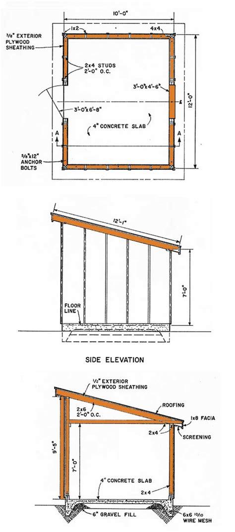lean  storage shed plans diagrams   slant