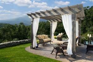Outdoor Pergola Curtains by Wood Pergola With Curtains 50 Ideas For Privacy In The