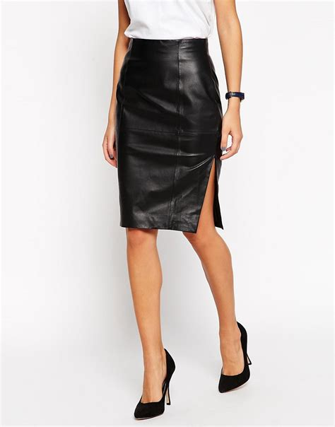 asos asos pencil skirt in leather with side split at asos
