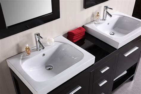vanity with top and sink adorna 60 inch transitional vessel sink vanity